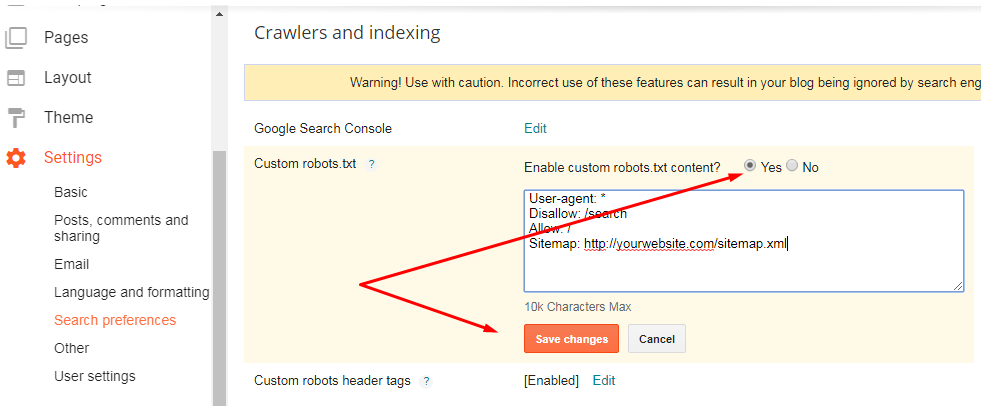 How to Enable the robots.txt file on the blogger