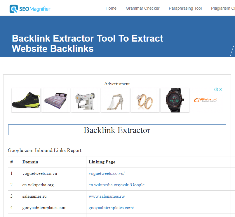 backlink extractor results output