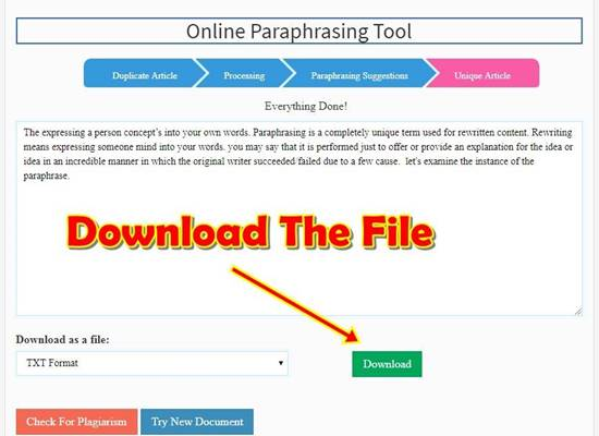 download paraphrased text from seomagnifier paraphrasing tool using