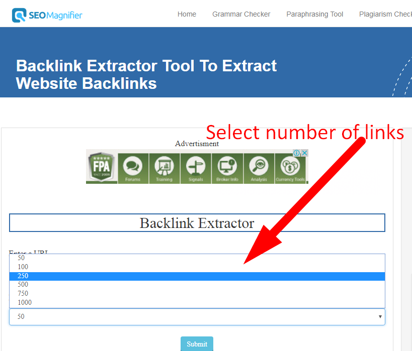 Extracting Website Backlinks