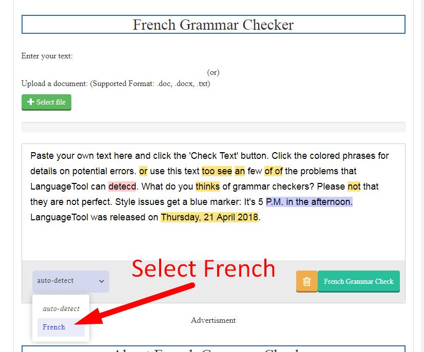 French Grammar Check Online