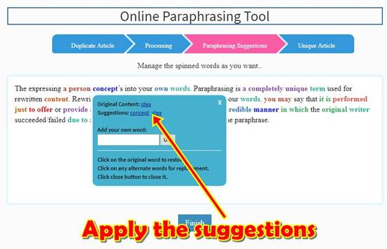 Performing the English rephrasing task using rephrase tool