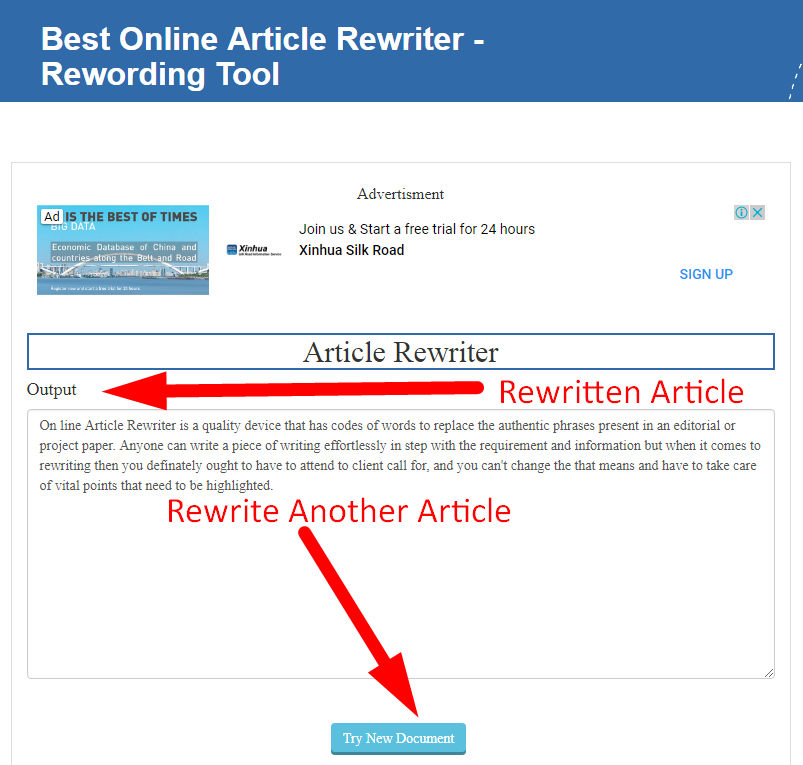 rewriting article using seo tools centre