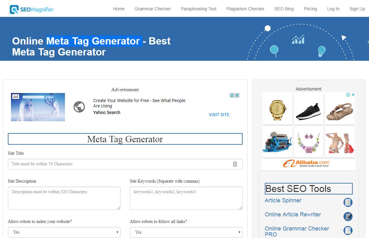 Online Meta Tag Generator - Best Meta Tag Generator