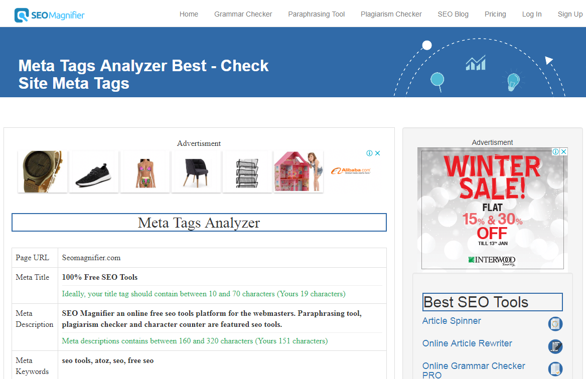 Meta tag analyzer results report