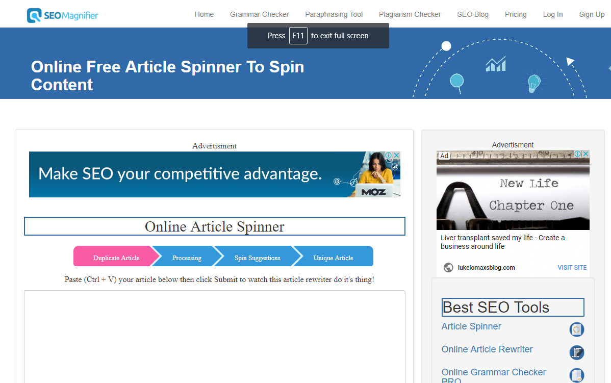 SEO Magnifier Online article spinner