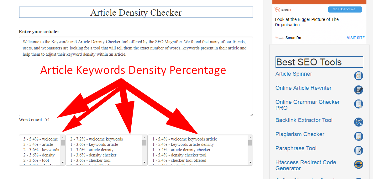 articles keyword percentage checker