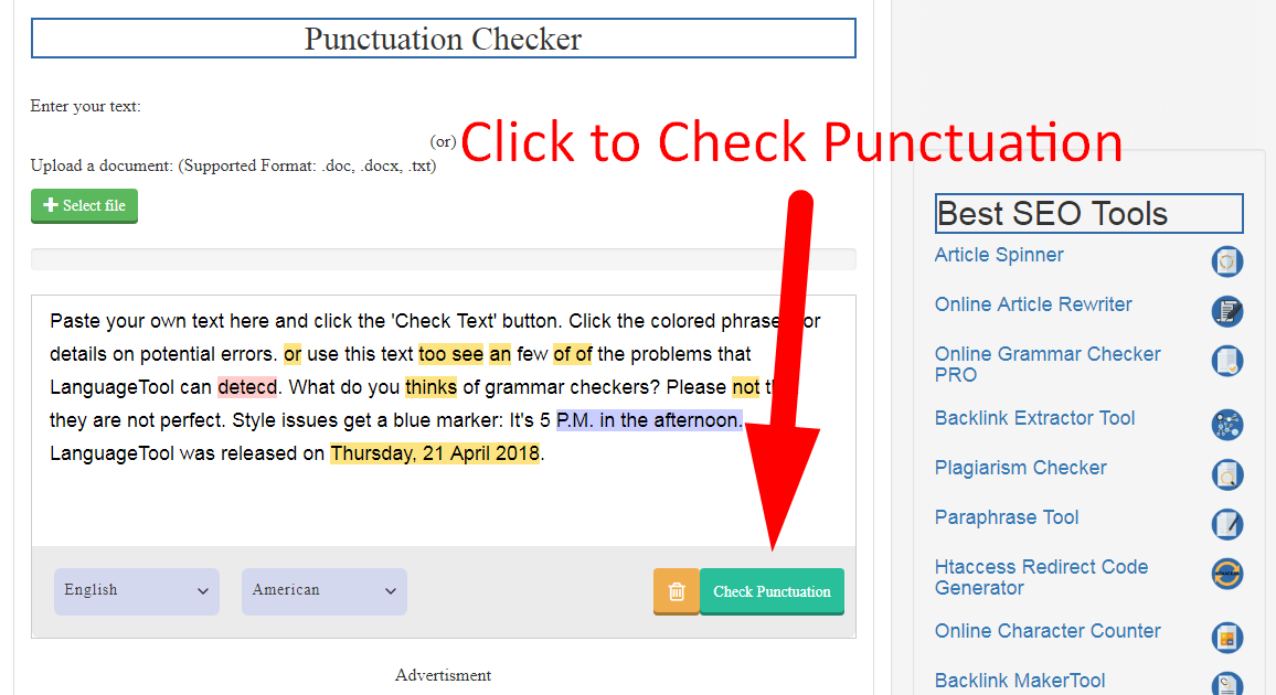 check english punctuation and grammar online