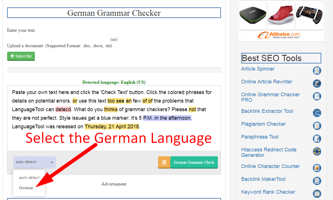 German Grammar Checker Google