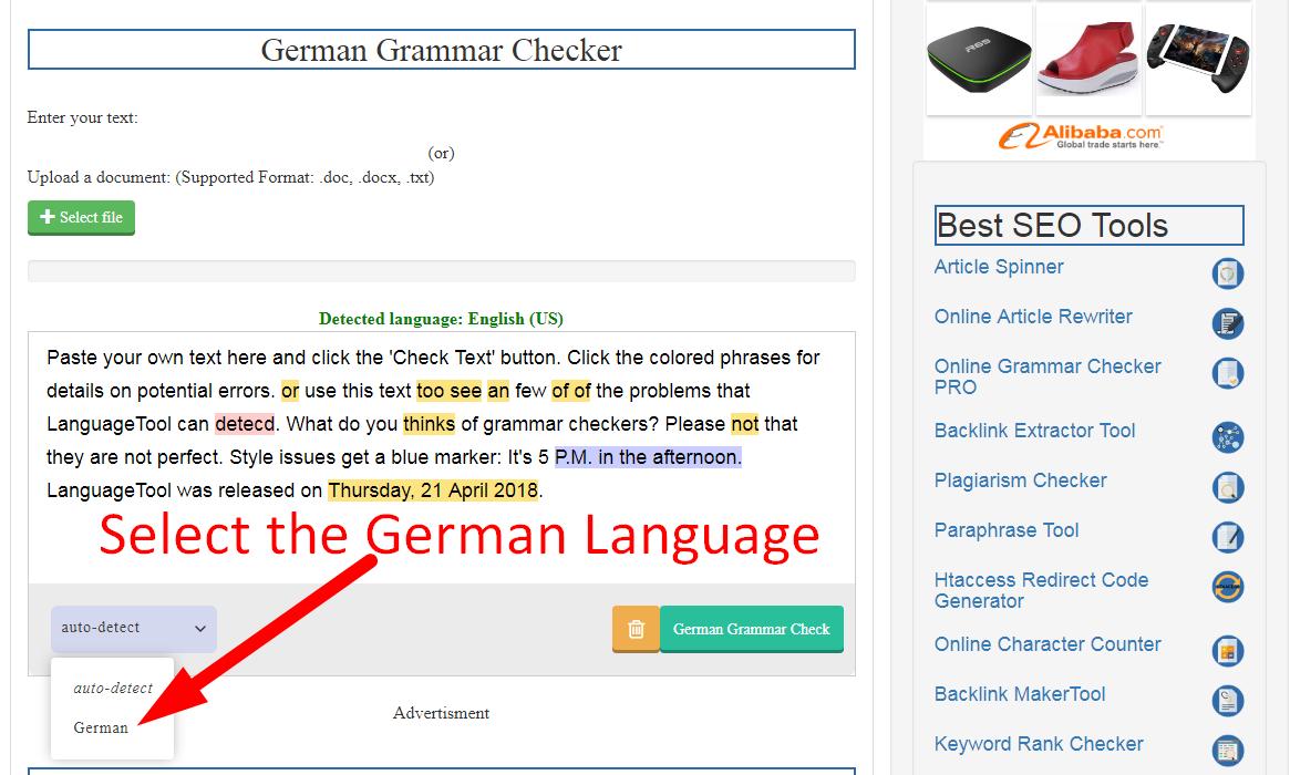German Grammar Checker - Best German Spell Corrector  SEOMagnifier