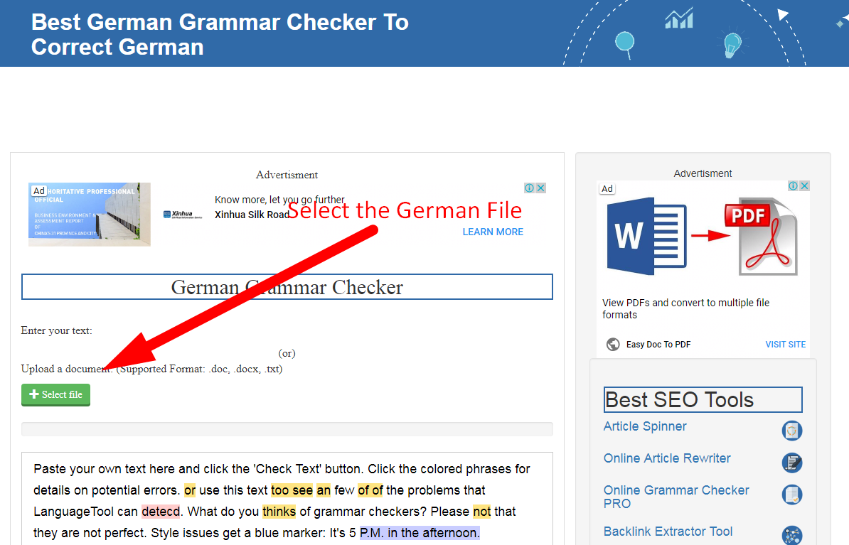 german grammar checker how to use