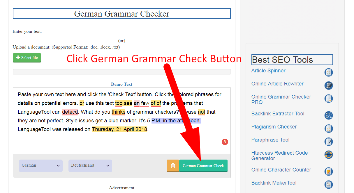 how to use german grammar corrector
