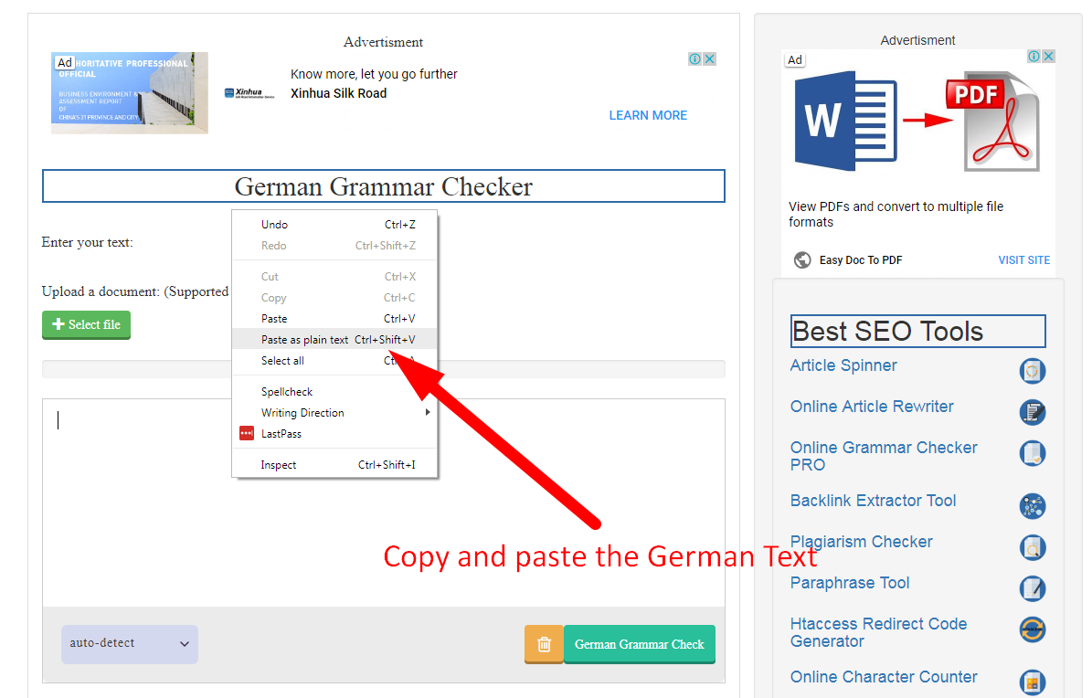 using SEO Magnifier german grammar checker