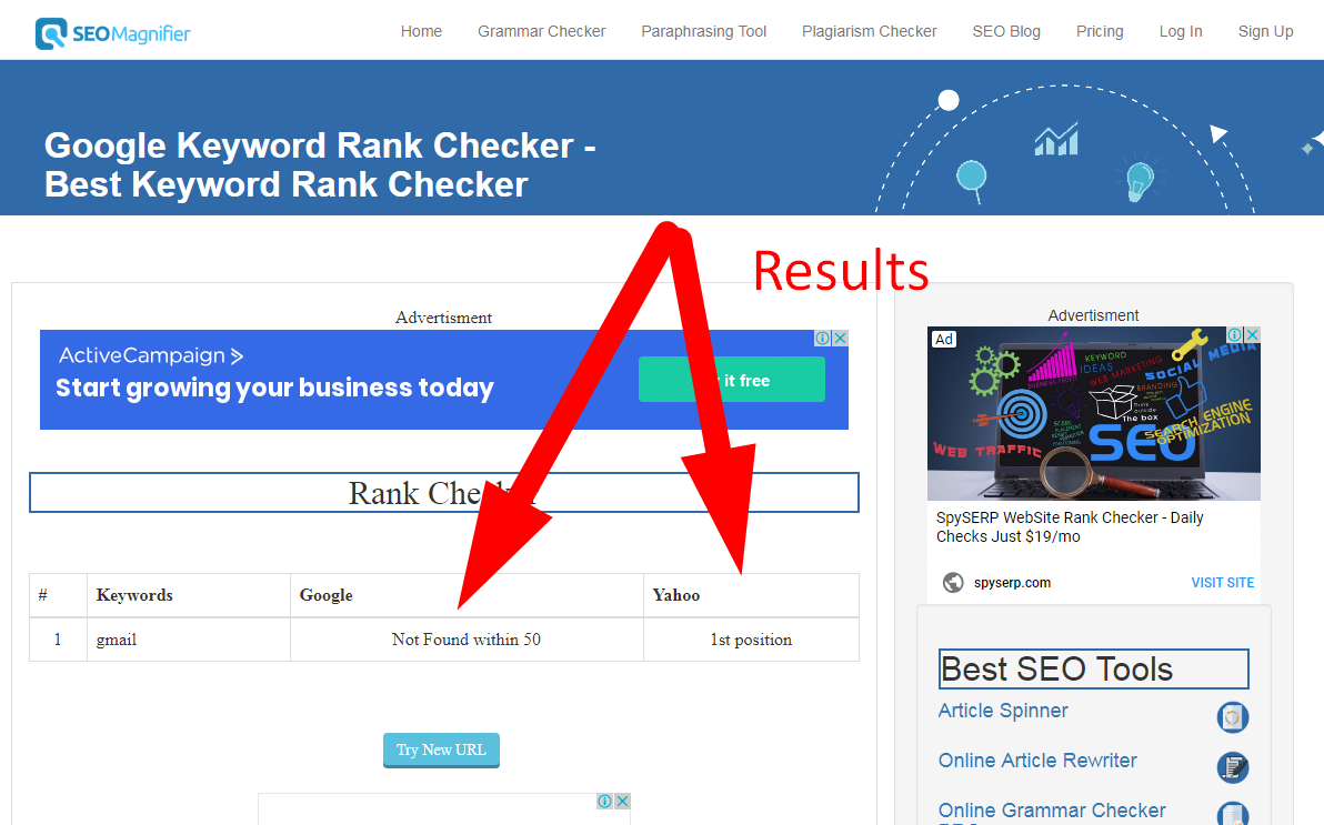 Google Keyword Rank Checker Tool Results