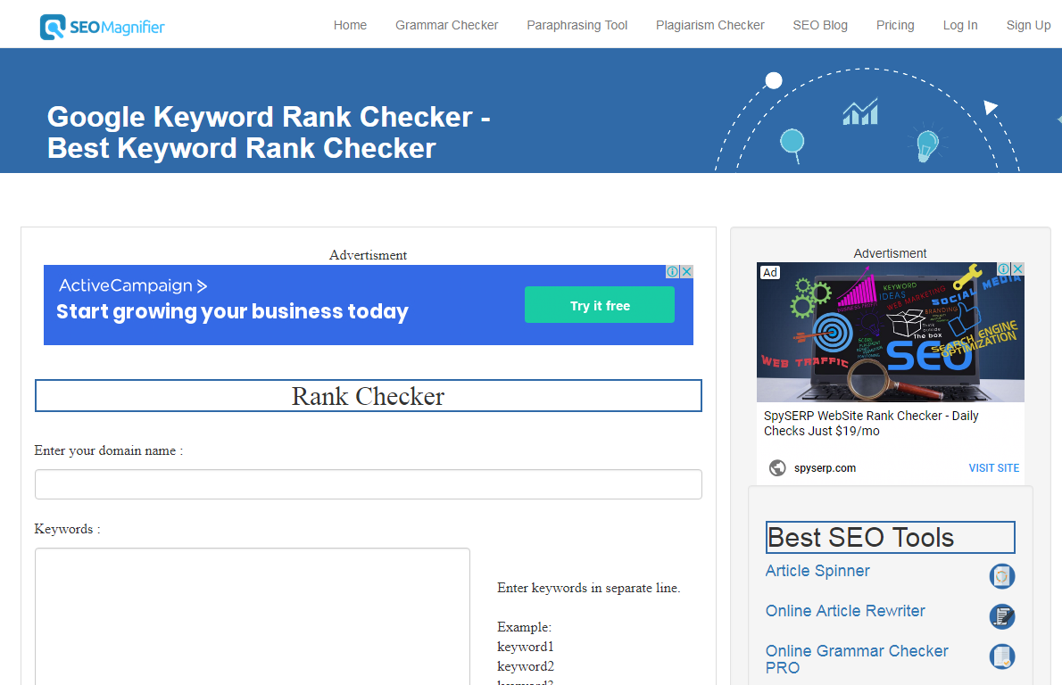 Google Keyword Rank Checker