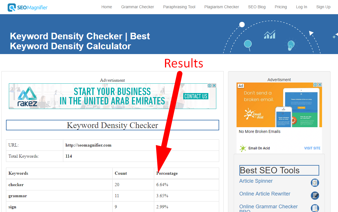 How to check keyword density step 4
