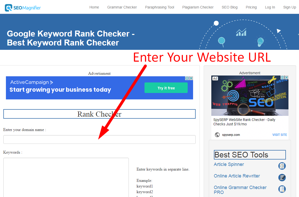 how to check keyword rank on google step 1