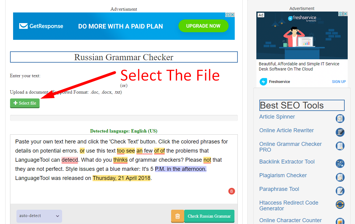 how to check russian grammar online step 2