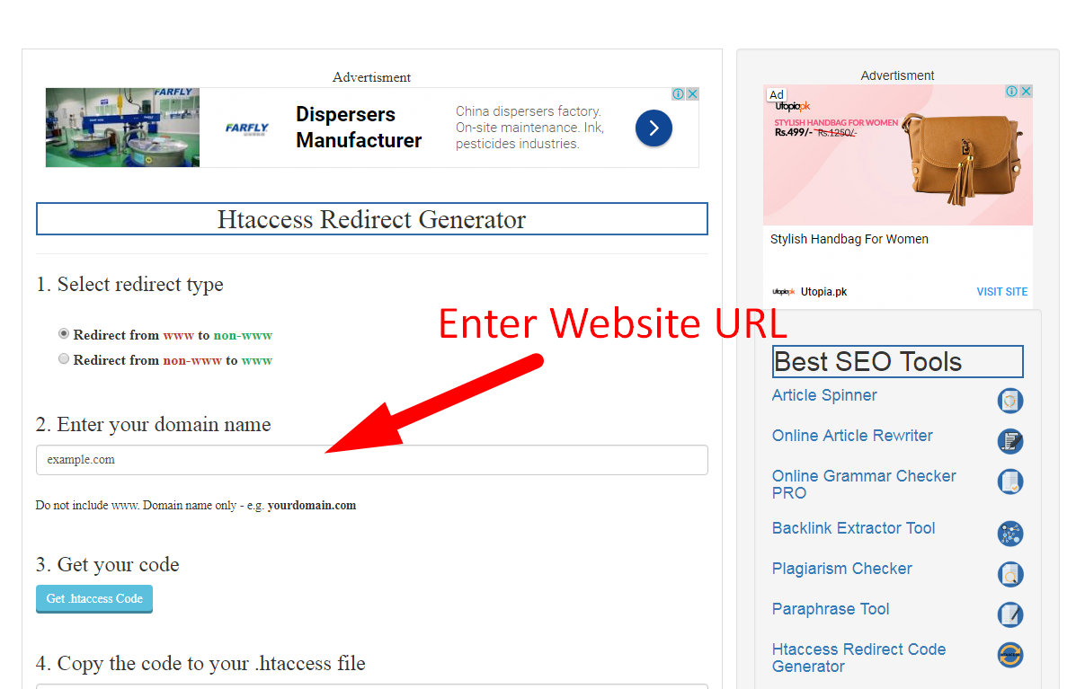 how to create htaccess redirect code