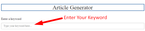 How to generate article online for free step 2