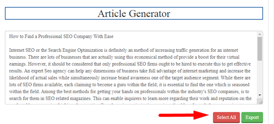 How to generate article online for free step 5