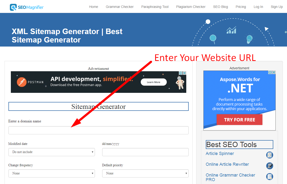 how to generate xml sitemap step 1