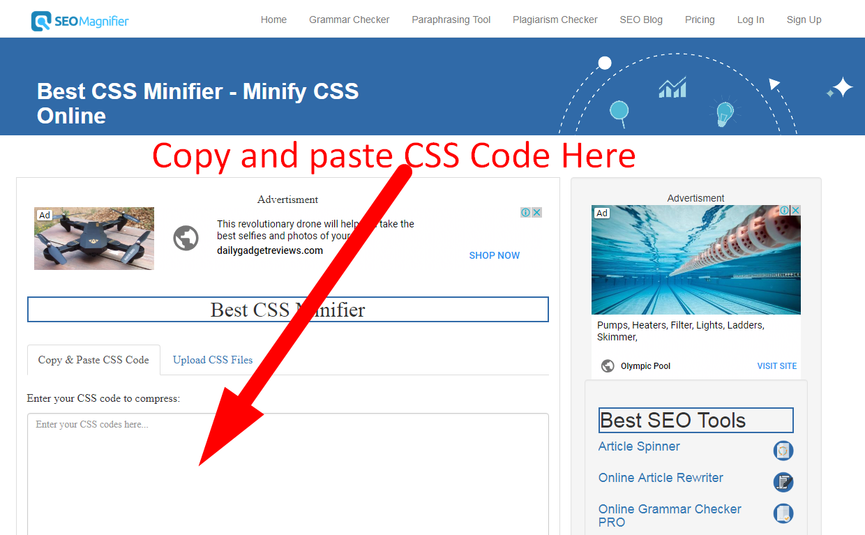 how to minify css code step 1