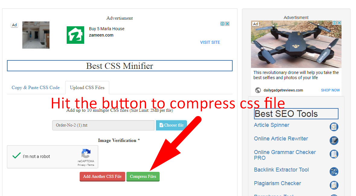 how to minify css code step 4