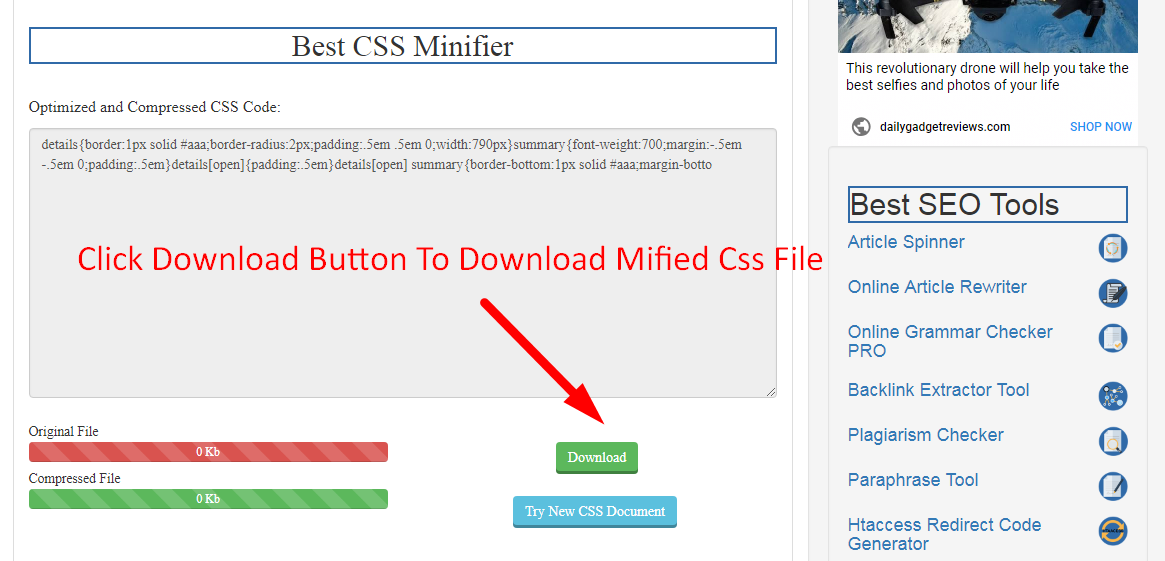 How to minify css code step 5