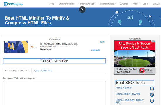 how to minify html file online step 1