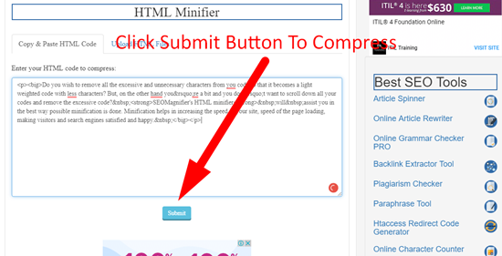how to minify html file online step 4