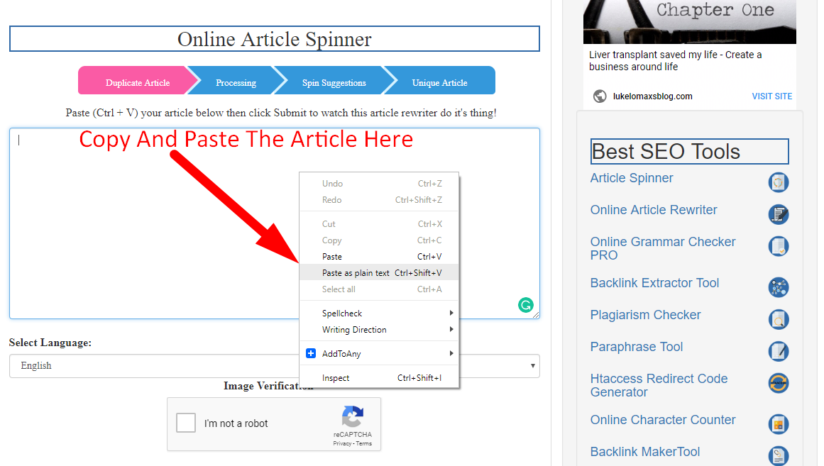 how to spin article online step 1
