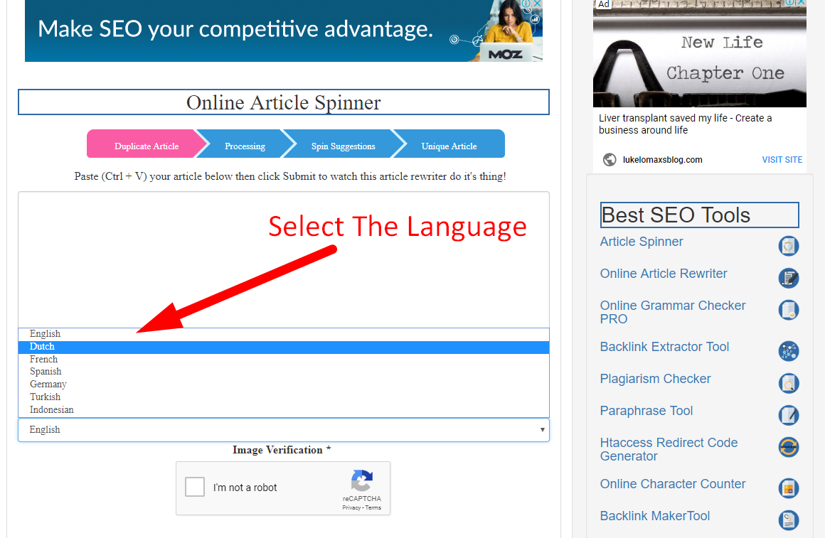 how to spin article online step 2