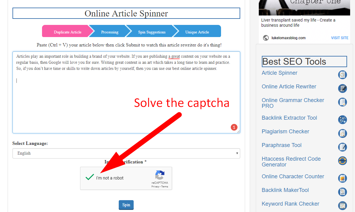 how to spin article online step 3