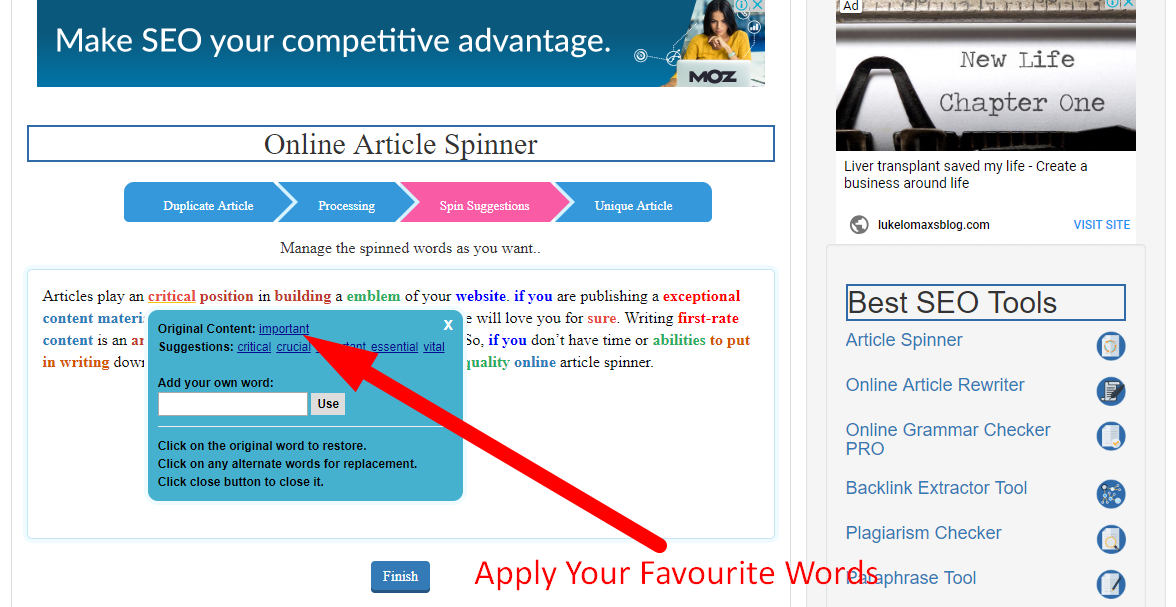 How to spin article online step 5