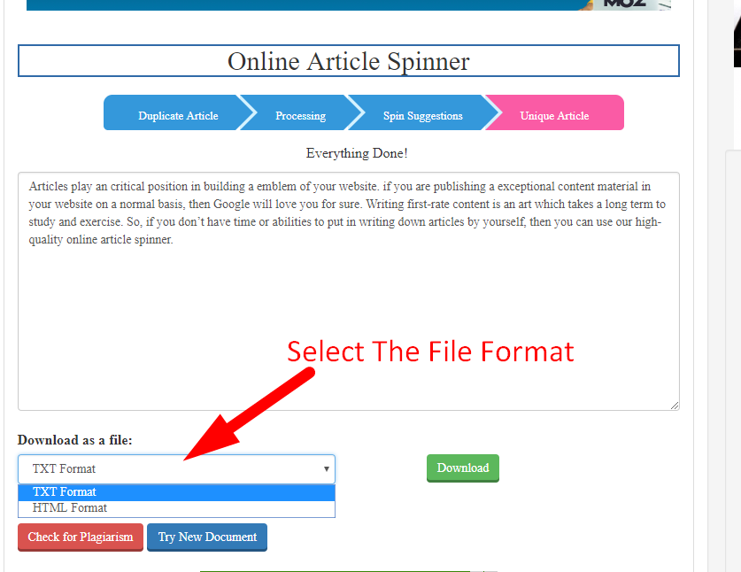 How to spin article online step 6