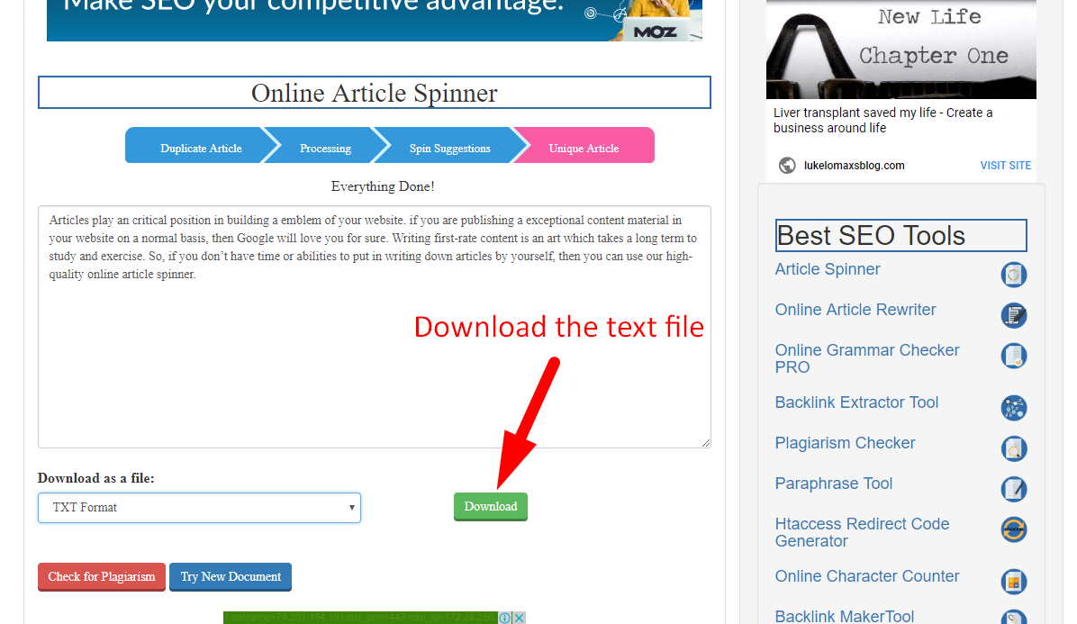 How to spin article online step 7