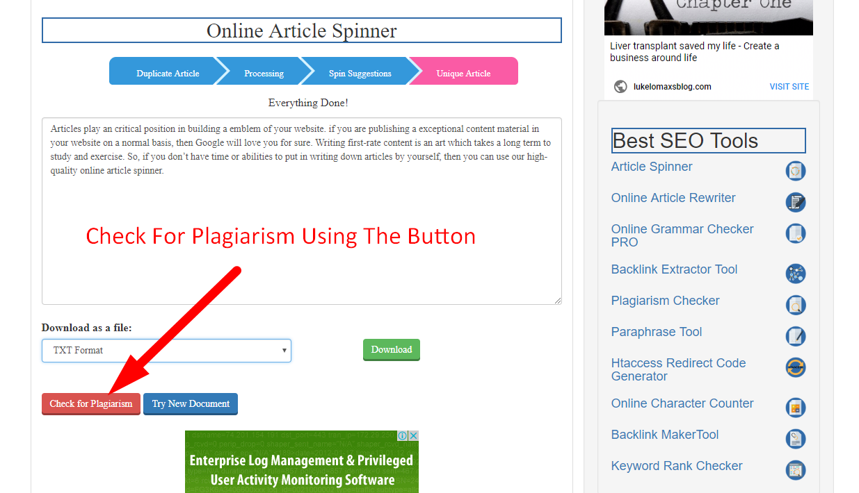 How to spin article online step 8