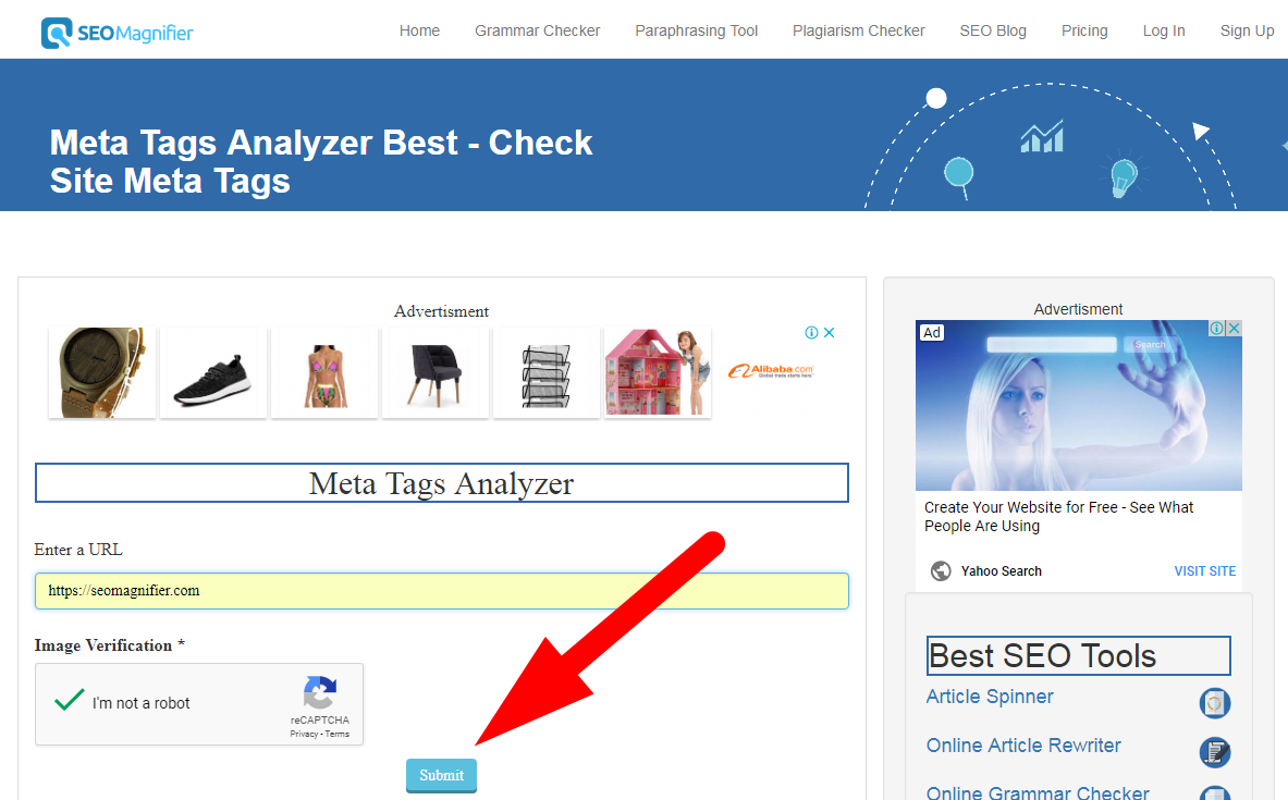 how to use seo magnifier meta tags analyzer