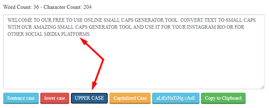 how to use small caps generator step 3