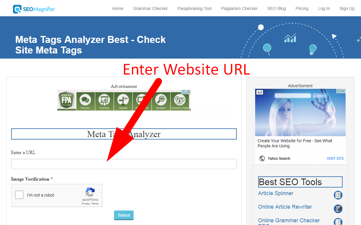 meta tags analyzer tool using