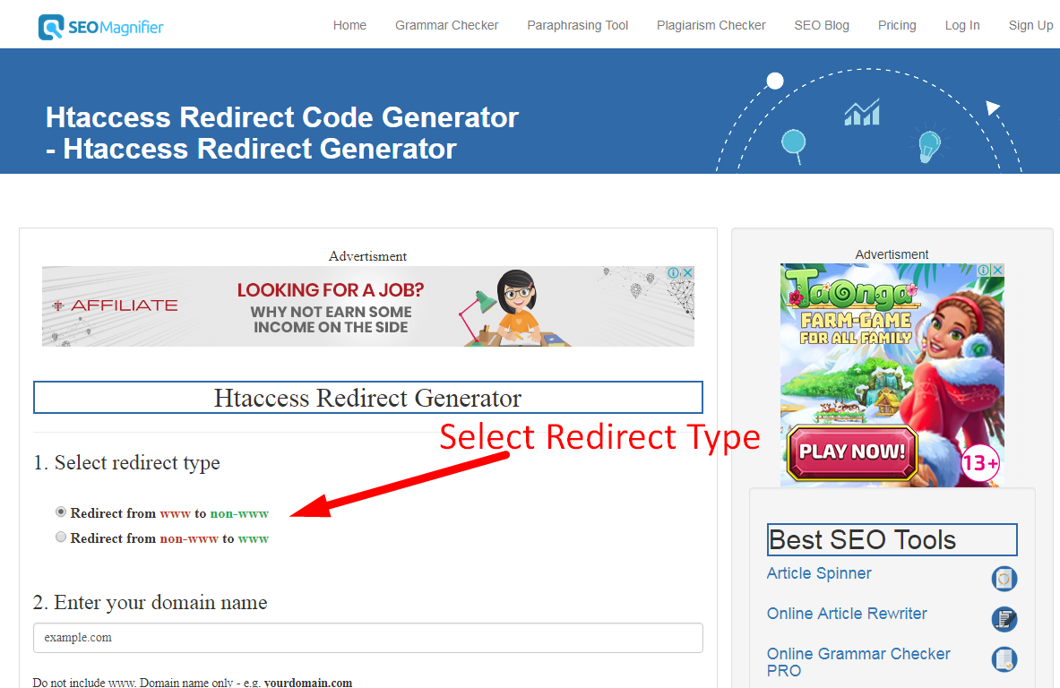 using htaccess redirect generator