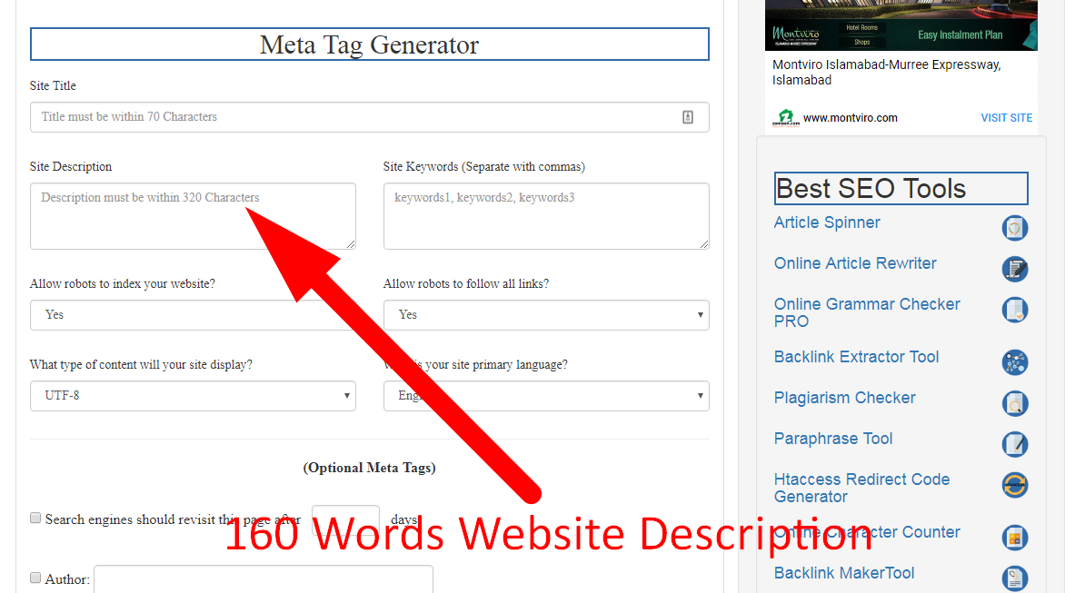 using meta tag generator tool